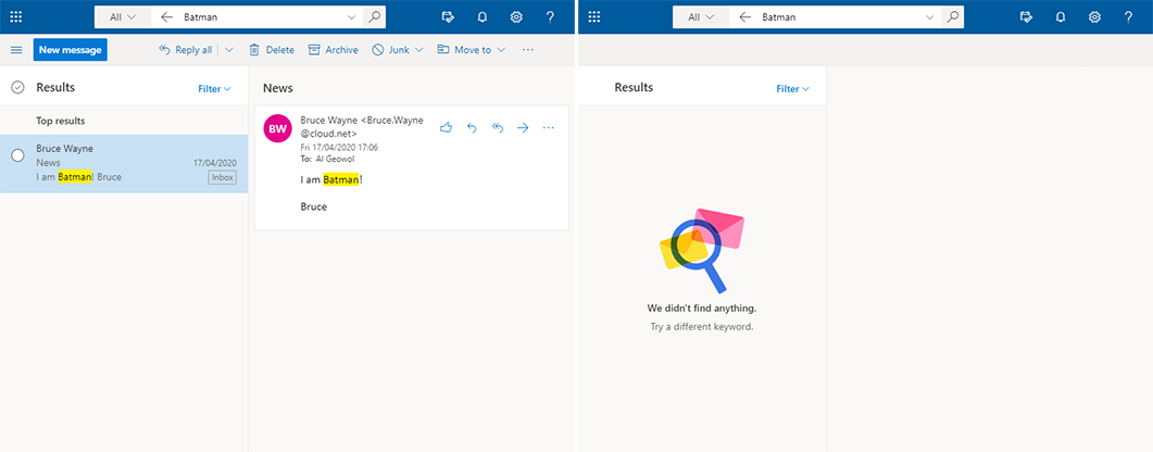 Screenshot Microsoft Outlook Suche